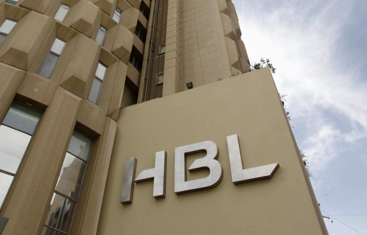 FILE PHOTO: The Habib Bank Limited (HBL) logo is seen on the head office building in Karachi,